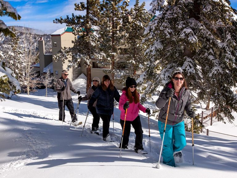 snowshoers in snow at the ridge tahoe